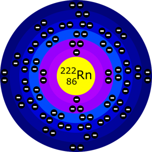 Artists Pictorial Rendering of Radon 222 Atomic Structure
